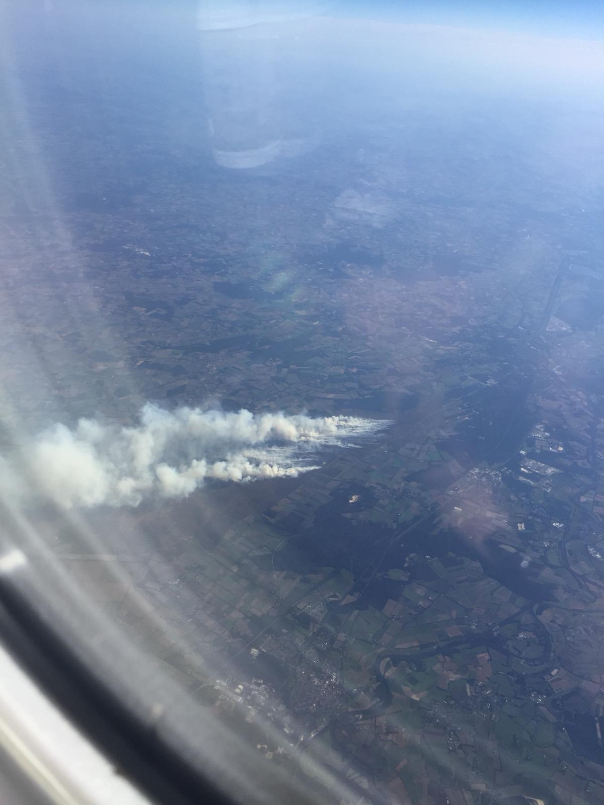 Moorbrand in Meppen aus dem Flugzeug