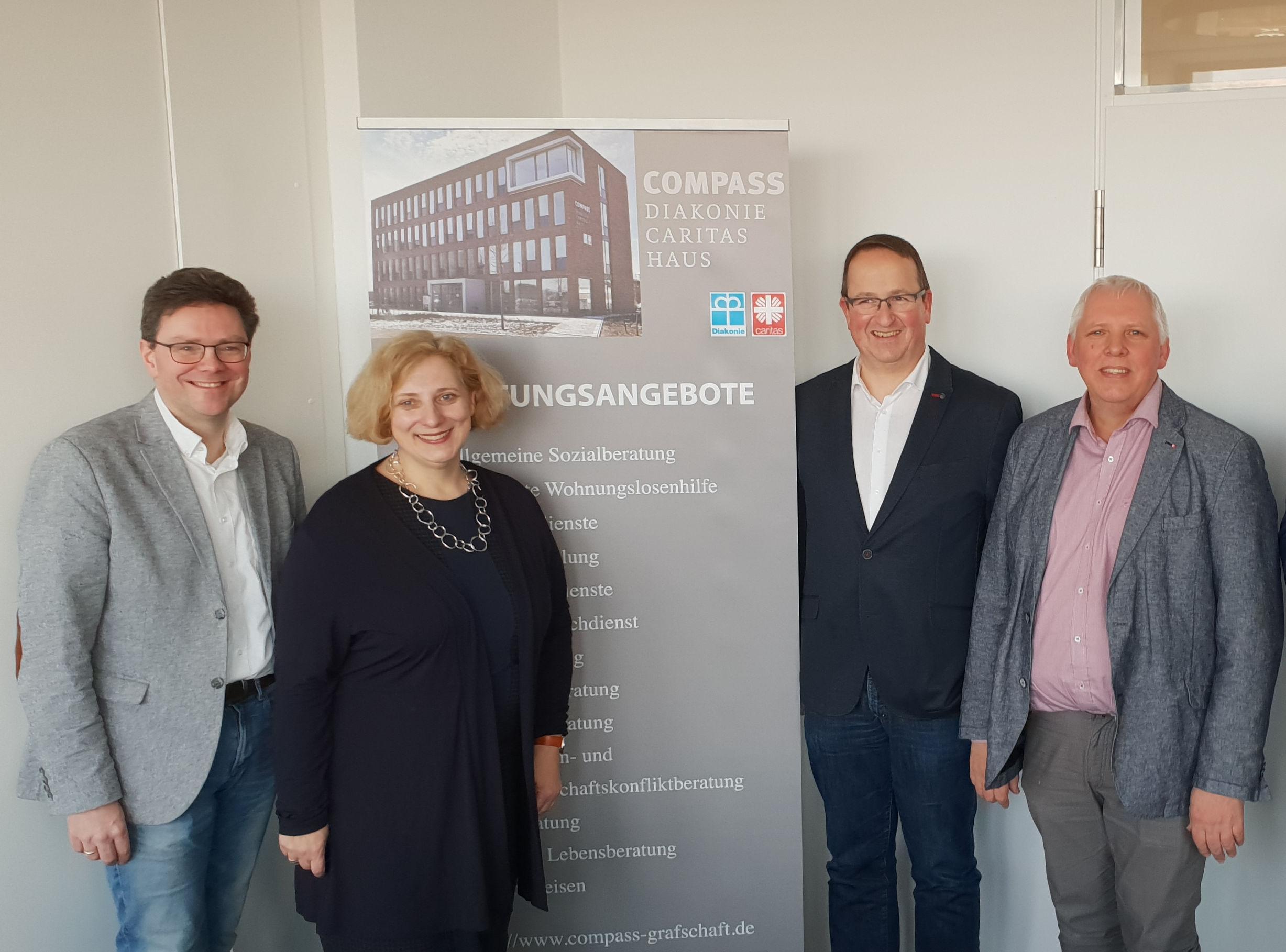 V.l.n.r.: Marcus Drees, Dr. Daniela De Ridder, Volker Hans und Hermann Josef Quaing
