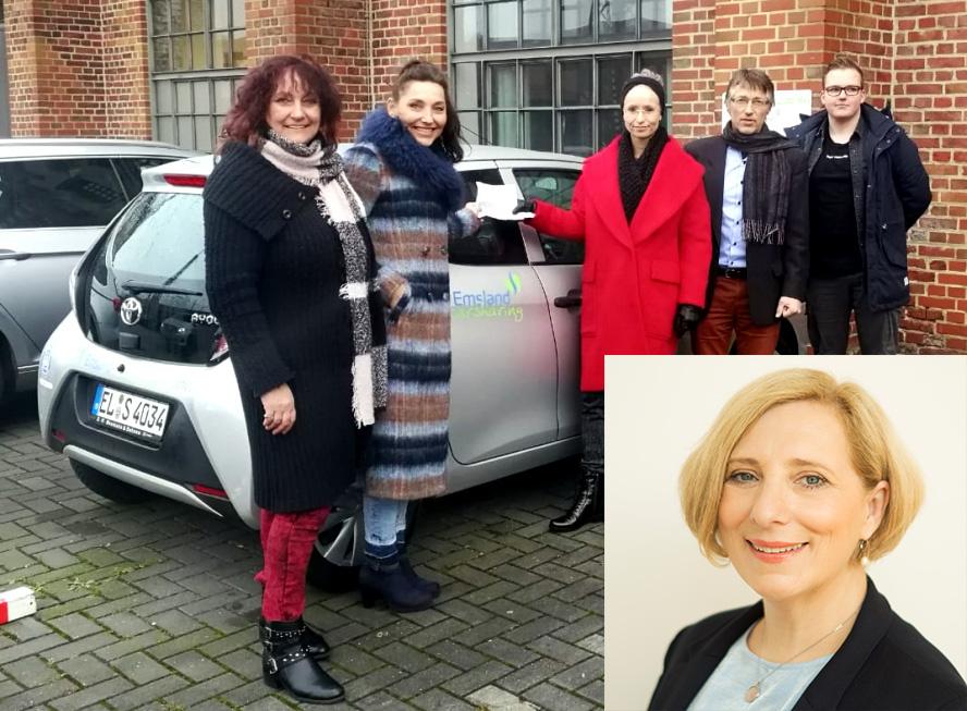 V.l.n.r. - Hildegard Otten (1.Vorsitzende), Andrea Kolf (2. Vorsitzende), Gewinnerin Birgit Schrader, Mitglied Prof. Dr. Markus Schmidt-Gröttrup und Robin Pflügge (AStA) I