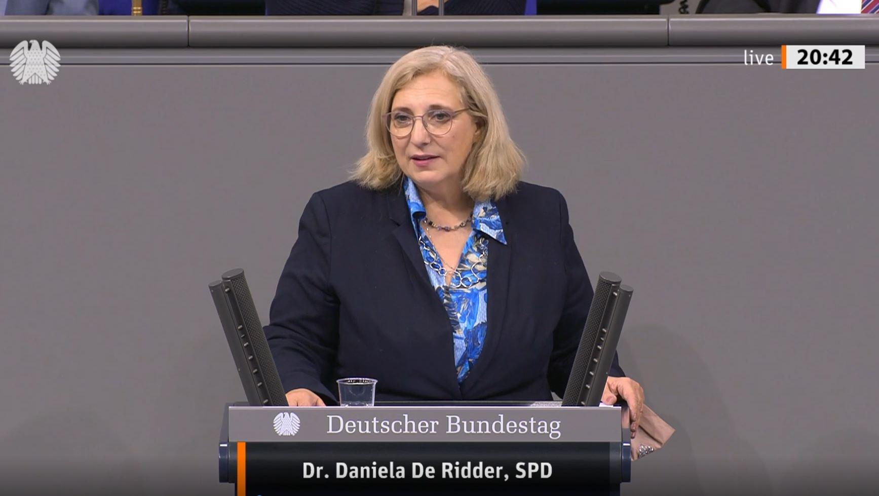 Dr. Daniela De Ridder spricht zur Sahelpolitik der Bundesregierung im Plenum des Deutschen Bundestags